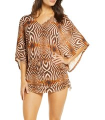 women's luli fama cabana v-neck cover-up dress, size x-small - brown