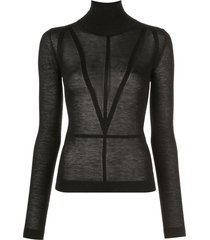 altuzarra turtle neck fine knit top - black