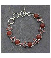 garnet and carnelian link bracelet, 'romantic glow' (india)