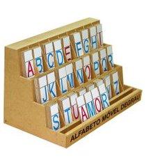 alfabeto móvel degrau carlu mdf com 130 peças