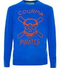 mc2 saint barth man blue sweater orange courma pirates embroidery