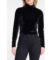 top plano ml slim lisa veludo ga cropped - preto - 38