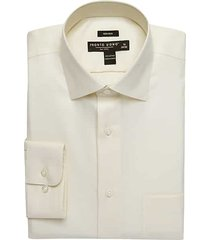 pronto uomo men's big and tall ecru queens oxford classic fit dress shirt - size: 18 1/2 34/35 - only available at men's wearhouse