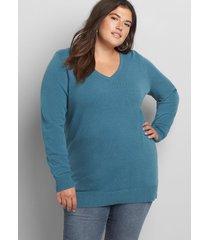 lane bryant women's long-sleeve v-neck sweater 22/24 teal
