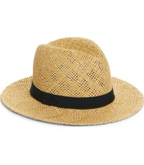 women's halogen straw panama hat - beige