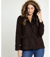 casaco marisa trench coat capuz pelúcia feminino