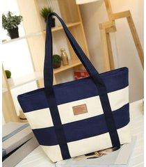 women canvas bag beach fashion with color stripes ladies large handbags