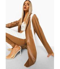 nepleren long line blazer met contrasterend paneel, caramel
