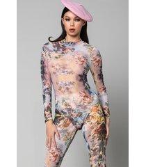 akira pink skies long sleeve mesh bodysuit