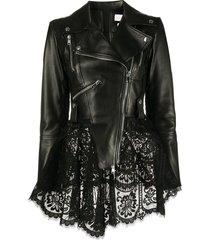 alexander mcqueen lace peplum biker jacket - black