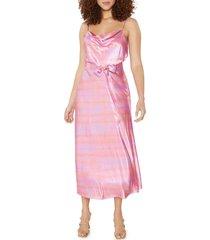 women's likely vittoria tie dye satin midi dress, size 10 - pink