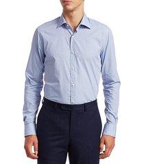 saks fifth avenue men's collection mini square print shirt - light blue - size m