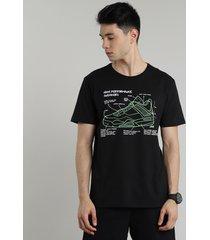 "camiseta masculina esportiva ace ""high performance sneakers"" manga curta gola careca preta"