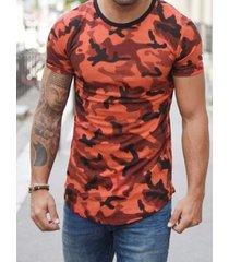 camiseta casual con estampado de camuflaje de algodón de verano para hombre soft