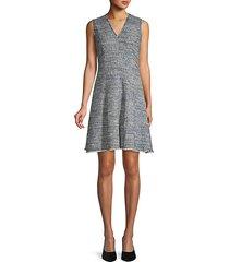fringed tweed flare dress