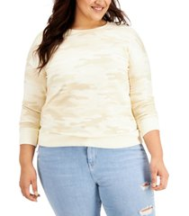 style & co plus size camo-print french terry sweatshirt, created for macy's