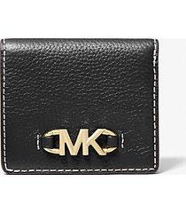 mk portafoglio a libro izzy piccolo in pelle martellata con logo - nero (nero) - michael kors