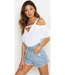 cold shoulder cut out detail woven top, white