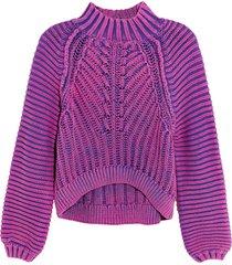 women's free people sweetheart mock neck sweater, size small - purple