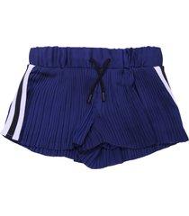 dkny blue pleated satin shorts