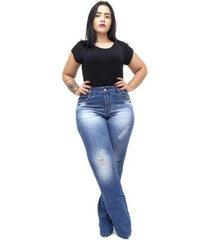 calça jeans xtra charmy plus size flare rosenia