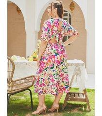 yoins plus talla corbata con estampado floral y cuello en v diseño maxi vestido