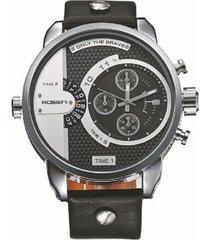 reloj rossini #047 cuero negro acero