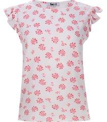 blusa floral con arandelas color rosado, talla s
