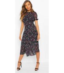 bloemenprint mesh midi jurk met hoge kraag, black