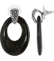 2028 pewter semi precious oval obsidian hoop earrings