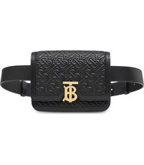 burberry belted quilted monogram lambskin tb bag - black
