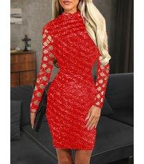 rojo hueco diseño mangas largas espumoso vestido