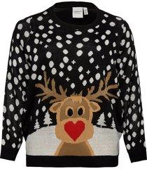 jrsnow ls knit pullover - s stickad tröja svart junarose
