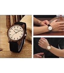 bewell zs unisex quartz watch japan movt wooden case canvas band wristwatch - eb