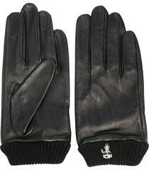 karl lagerfeld ikonik-brooch leather gloves - black