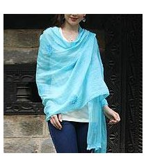 cotton and silk blend shawl, 'lucknow bouquet in blue' (india)