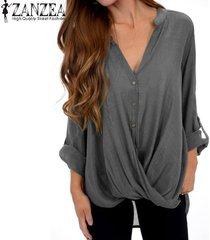 zanzea mujer de manga larga camisa ocasional asimétrico blusa floja botones tops abajo plus -gris
