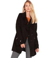 abrigo wados m/l suede negro - calce regular