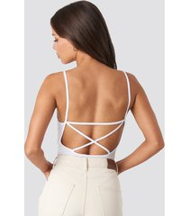 na-kd party back cross ribbed body - white