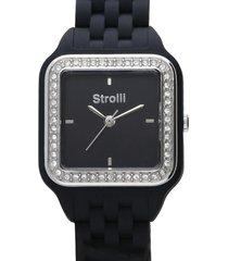 orologio cinturino policarbonato nero, cassa acciaio, ghiera argento con strass per donna