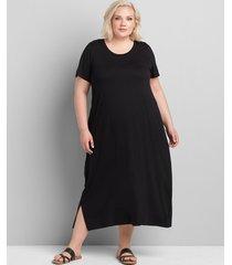lane bryant women's jersey midi dress 10/12 black