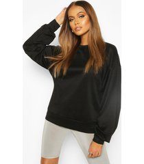 balloon sleeve oversized sweat top, black