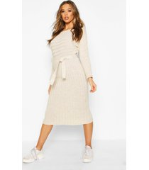 rib knitted midaxi belted dress, stone
