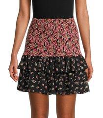 allison new york women's floral a-line skirt - black floral - size m