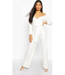 off the shoulder wide leg jumpsuit, ivory