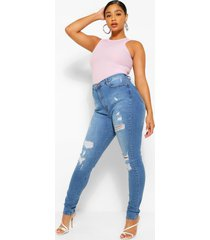 plus distressed super high waisted jeans, mid blue