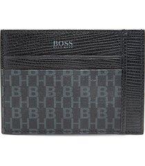 boss hugo boss men's logo-print leather card case - black