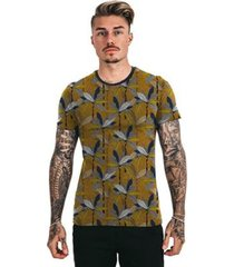 camiseta di nuevo mostarda folhas tropicais masculina - masculino