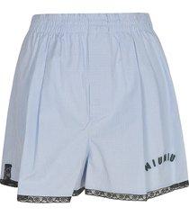miu miu logo embroidered checked shorts