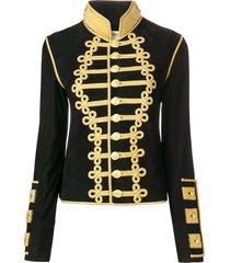 jessie western cropped military jacket - black